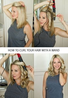 Step by step tutorial with pictures for how to get loose, wavy curls in 10 minutes | Honey We're Home #hairtutorial #curlingwand