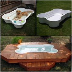 Top 10 Ways to Repurpose Old Furniture for Your Pet Love this! But do this with pallets and a kiddie pool for the dogs and duck. Easier to clean than a pond, looks nicer than having it out in the grass, and the dogs can't chew it or drag it around. Bone Shaped Dog Pool, Saint Symphorien, Dog Swimming Pools, Dog Pond, Canis, Ponds Backyard, Backyard Ideas, Pond Ideas, Kiddie Pool