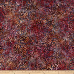 Kaufman Regal Batiks Leaf Paisley Cranberry from @fabricdotcom  Designed by Lunn Studios for Robert Kaufman Fabrics, this Indonesian batik fabric has beautiful colorations and is perfect for quilts, craft projects, home decor accents and apparel.