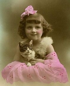 Hand-colored vintage child and kitty