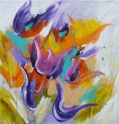 Adry;s schilderij nr. 2117 met als titel: Touch of caress in het formaat 100 x 100 cm.