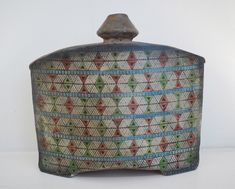 John Bedding: Pot with Aztec Pattern, ceramic, ht. 23cm