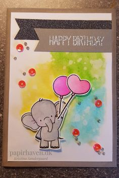 Card with 'adorable elephants' stamp from 'My favourite things'. Painted with 'Distress ink' and  'Zig real color brush markers'