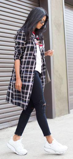 Checkered Long Blazer Styling by Walk In Wanderland