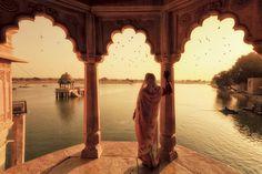 India, Rajasthan, Jaisalmer, Gadi Sagar Lake, Indian Woman Wearing Traditional Saree Outfit Photographic Print by Michele Falzone at Jaisalmer, Jaipur, Rajasthan India, India India, Delhi India, Virgin Gorda, Bali, Agra, Parc A Theme
