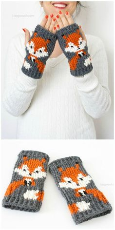 Crochet Fox Fingerless Gloves Pattern - 50 Free Crochet Fox Patterns - Crochet F. Crochet Fox, Crochet Mittens Free Pattern, Crochet Motifs, Baby Knitting Patterns, Crochet Crafts, Crochet Stitches, Crochet Projects, Free Crochet, Crochet Patterns