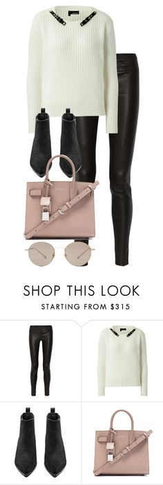 """""""Untitled #2799"""" by elenaday ❤ liked on Polyvore featuring Helmut Lang, The Kooples, Acne Studios, Yves Saint Laurent and Gucci"""