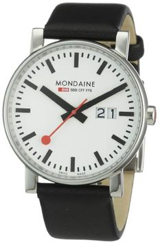 Mondaine Men's Quartz Watch with White Dial Analogue Display and Black Leather…
