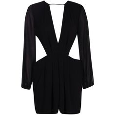 Boohoo Mia Long Sleeve Plunge Cut Out Side Playsuit | Boohoo ($35) ❤ liked on Polyvore featuring jumpsuits, rompers, long sleeve jersey, long-sleeve rompers, long sleeve romper, plunge romper and long-sleeve romper