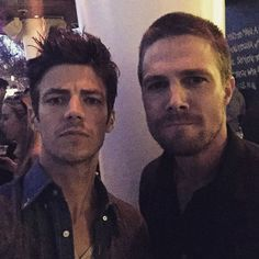 Grant Gustin and Stephen Amell