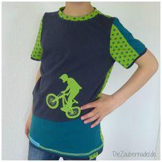 """Shirt nach dem SM """"Xater""""von Farbenmix in Gr.140 mit Moountainbiker- Applikation"""