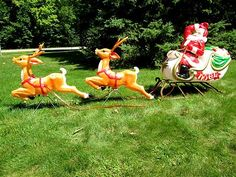 vintage santa sleigh and reindeer outdoor decoration a christmas blow mold - Blow Mold Christmas Decorations Outdoor