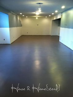 Painted cement floors on the blog! Love the shine of this floor but worried that paint will wear.