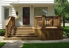Exterior Front Deck Ideas Backyard Deck Decking Out Small Living Space With Convenient Sofa Sets Small Deck Space. Similar Living Dreams. Front Porch Steps, Front Stairs, Open Stairs, Front Porch Design, Front Deck, Front Stoop, Porch Designs, Wood Stairs, Up House