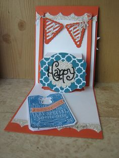 Raquel Mason's awesome birthday Pop 'n Cuts card using the Stampin' Up! Label insert.
