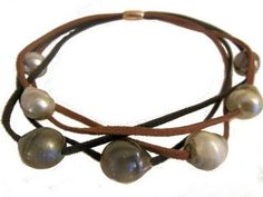 Tahitian Pearls on Brown and Black suede cords. Magnetic Clasp.