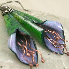 Handcrafted Copper Enamel Cone Flower Earrings, Hydrangea | TekaandZoe - Jewelry on ArtFire