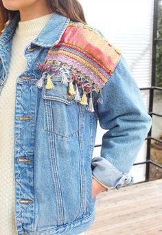 vintage jeans jacket embroidery, tassels | Amandalovesvintage | ASOS Marketplace