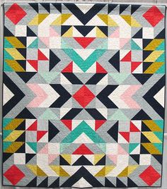 Contemporary Patchwork Quilt Designs Contemporary Patchwork Quilts Modern Patchwork Quilt Patterns Free Mercury By Jodi Weir Vancouver British Columbia Quilted By Catherine Hanna Of Geometric Quilttri Quilting Projects, Quilting Designs, Sewing Projects, Quilting Ideas, Southwest Quilts, Geometric Quilt, Geometric Patterns, Half Square Triangle Quilts, Quilt Modernen