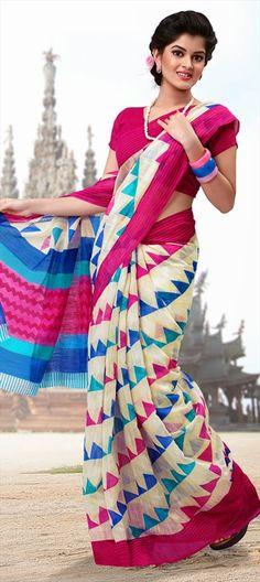 145937: The #kite prints in Silk-cotton #saree. Shop now!  #sky #kites #prints #partywear #silksaree   #sale flat 10% off. #multicolor