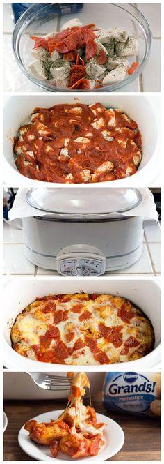Pepperoni Pizza Slow-Cooker Bubble-Up Bake