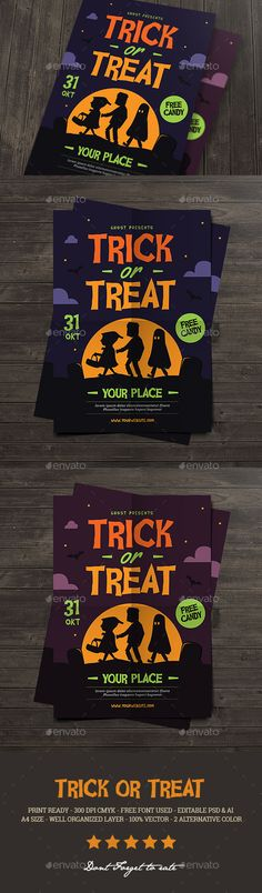 Trick or Treat Halloween kids Flyer — Photoshop PSD #night #zombie • Available here → https://graphicriver.net/item/trick-or-treat-halloween-kids-flyer/18132207?ref=pxcr