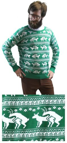 Reindeer Humping Ugly Christmas Sweater w/ Holiday Insertion & Christmas Dongs:Amazon:Clothing