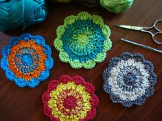 crochet coasters... great to use up those small amounts of yarn!