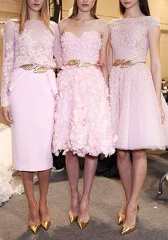 Runway inspiration for pink and gold bridesmaid dresses.