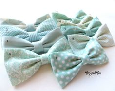 Mint Groomsmen Bow Tie Mix And Match Coordinating Custom Wedding Bow Ties in 100% Designer Cotton --/ still can't decide on pink, coral or mint for groomsmen ties, I love this mismatched pattern though for each bow tie, a different one for each groomsman.