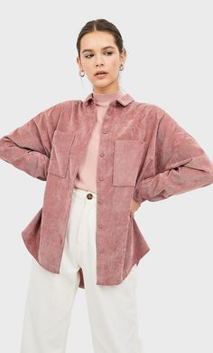 Corduroy overshirt DAMES Donkerfuchsia L Bluse Outfit, Shirt Blouses, Women's Shirts, Corduroy, Blouses For Women, Winter Outfits, Ideias Fashion, Bell Sleeve Top, Ruffle Blouse