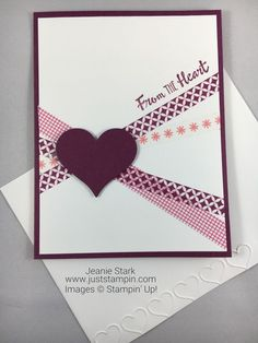 Stampin Up Petal Palette washi tape card idea – Jeanie Stark StampinUp Stampin Up Petal Palette Washi Tape Card Idee – Jeanie Stark StampinUp Pretty Cards, Love Cards, Diy Cards, Washi Tape Cards, Handmade Birthday Cards, Card Sketches, Valentine Day Cards, Homemade Valentines Day Cards, Creative Cards