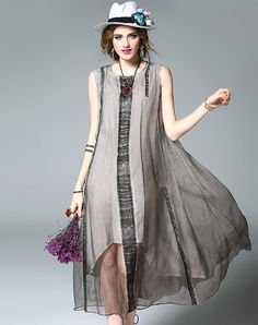 Shop mojaser Gray Sleeveless Round Neck Loose Swing Maxi Dress online❤ VIPme.com offers quality Swing Dresses from fashion designers at affordable prices.