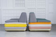 lounge chairs/sofas made of cushions