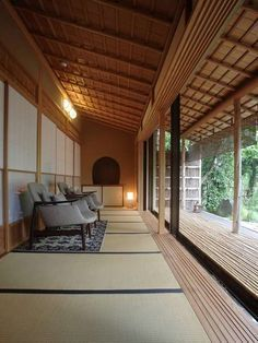 House with Engawa, the between space between porch and inside, where shogi (sliding panels) on either side kan open or close to bring the outside in or keep it out.