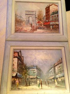 Pair of oil paintings, streets of Paris, nicely framed on Etsy, $89.99