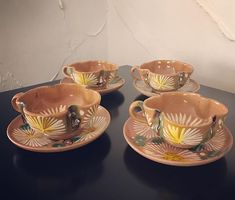 How sweet are these vintage Mexican daisy pottery tea/coffee cups and saucers? Also have matching cookie/biscuit plate too :) off everything! Coffee Cups And Saucers, Cup And Saucer, Punch Bowls, Fork, The Hamptons, Tea Party, Biscuits, Daisy, Mexican