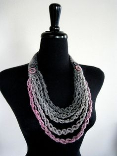SALE - Beautiful Glimmer Gray Dusty Pink Fashion Crochet Necklace Lariat Bib with Shell Ring Beads. $24.00, via Etsy.