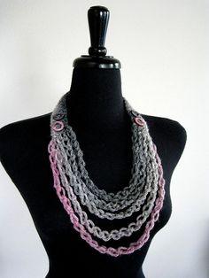 Beautiful Glimmer Gray Pink Fashion Crochet by KnitsomeStudio, $27.00