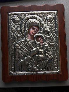 "Byzantine Orthodox Icon Mary and Jesus Amolinto  Angels Framed 9x11"""