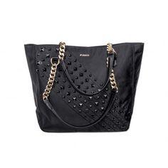 PINKO - Shopping bag Fo studs detail nylon black  - Elsa-boutique.it