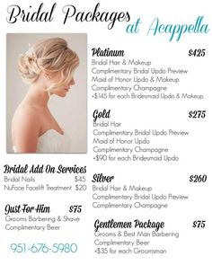 Bridal Packages Acella Salon On Temecula Lynne Dasilva Has 8 Positive Reviews At Naturallycurly But Need To Clarify Whether I Can Also Preview Makeup