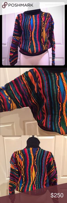 Vintage women's COOGI sweater This vintage authentic women's COOGI sweater is 100% wool and made in Australia. The turtleneck brings extra warmth to the sweater. Please see the picture of the detailed waist of the sweater. Truly a classic! COOGI Sweaters Cowl & Turtlenecks