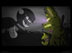 Who would win? One inky boi, or one springy boi? Best Crossover, Fandom Crossover, Fnaf Characters, Fnaf Drawings, Just Ink, Cartoon Crossovers, Anime Version, Bendy And The Ink Machine, Indie Games