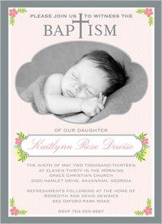Floral Baptism Girl Baptism Invitation