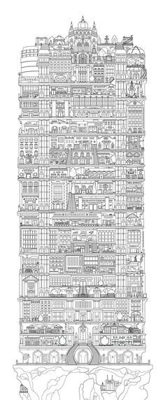 Masonry City is a vertical city, carved into a mesa in the middle of the Mason plains. Vertical Cities 1 by Allison Rae Colouring Pages, Coloring Books, Vertical City, Art Graphique, Doodle Art, Illustrations Posters, Line Art, Concept Art, Art Drawings