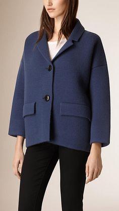 Azul seixo Casaco encurtado de malha de cashmere e lã - Imagem 1