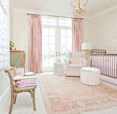 We love this mix of vintage and modern in this chic pink nursery from Rachel Parcell of Pink Peonies!