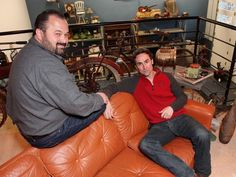 """Mike Wolfe and Frank Fritz (left) of """"American Pickers"""" Danielle Colby, American Pickers, History Channel, Picture Show, Iowa, Leather Pants, Tv Shows, Actors, Guys"""