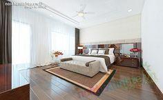 Phòng ngủ Master với hệ giường kệ thiết kế liền mạnh với những đường nét thẳng ngang hiện đại , đầu giường là sự kết hợp của gỗ da và giấy dán tường Nhật Bản, với thiết kế phân theo mảng đơn giản những lại toát lên sự sang trọng từ tỉ lệ và chất liệu .